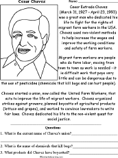 cesar chavez biography labor leader enchantedlearning com chavez worksheet