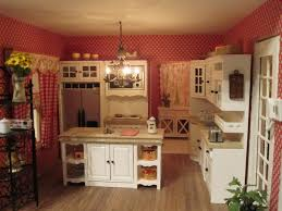 small simple country kitchen design with red wallpaper and antique chandelier over freestanding kitchen island with open shelves plus double door cabinet