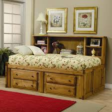 Rustic Twin Bed Frame With Storage And Bookcase On The Headboard ...