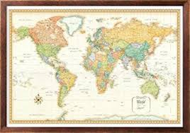 office world map. 32x50 Rand McNally World Classic Wall Map Framed Edition Office R