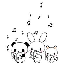 パンダうさぎ猫合唱音楽のイラスト 無料イラスト素材素材ラボ