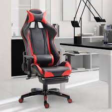 office recliner chair. Homcom Gaming Chair Office Recliner Swivel Ergonomic Executive High Back PU Leather Red E