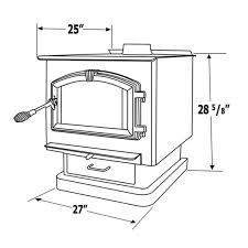 measurements with diagram of country hearth woodburning stove