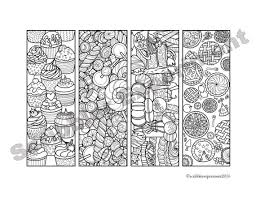 Bookmark Coloring Pages Digital Download Printable Dessert Coloring Bookmarks Coloring Pages Birthday Party Favor Book Lover Gift Diy Valentines Day Gift Kids
