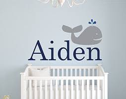 wall decal letters personalized whale name wall decals for boys baby room decor nursery