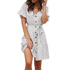 Walmart Time And Tru Size Chart Women Short Sleeve Spotted V Neck Button Mini Dress