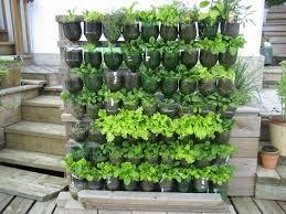 half plastic bottle vertical garden on wooden frame