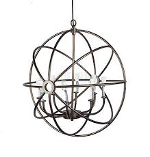 foucault iron orb chandelier rustic design lamp vintage industrial lighting