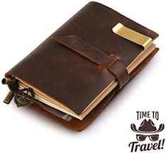Classic <b>Genuine Leather</b> Notebook - Daily Use & <b>Traveler's</b> Notebook