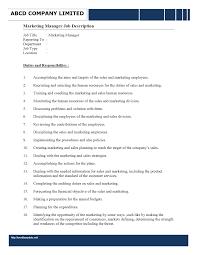 human resources manager job description wordtemplates net human resources staff cover letter · marketing manager job description