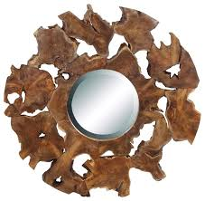 round wall mirror set stunning teak wood rugged natural