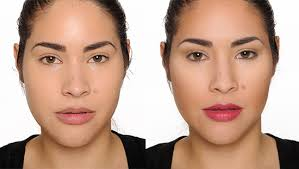 cheek contour before and after. before contouring / after with nars radiant cream compact foundation cheek contour and