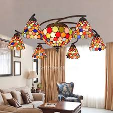multi color 8 light painting downlight stained glass ceiling lights
