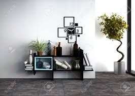 Small Picture Wall mounted Shelves With Personal Effects And A Designer Clock