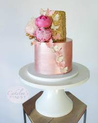 Pink And Gold Cake On White 16 Inch Cake Stand I Sarahs Stands