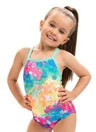 Dolfin Little Girlu0027s Uglies One Piece Swimsuit (Rainbow Drop, 4)