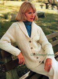Knitted Cardigan Ladies Aran Cardigan Cardigan With Etsy