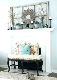 white and tan spring mantel with eggs decorating ideas fireplace