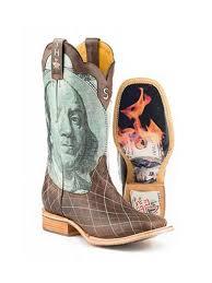 Mens Tin Haul Money To Burn Cowboy Boots 14 020 0007 0273 D