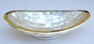 Long Decorative Bowl Rosecliff Heights Seabeck Long Oval Laminated Mother of Pearl 25