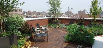Exterior:Simple Roof Terrace Design Ideas With Pattern Wooden Floor And Red  Brick Fence Decor