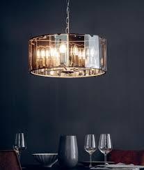 suspended glass drum pendant light