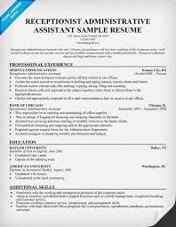 Sample Resume For Receptionist Office Assistant