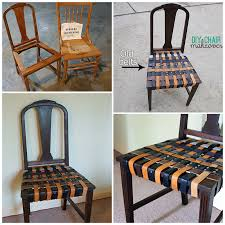 repurposing old furniture. Reuse Old Belts For A Chair Makeover At @savedbyloves #repurpose #upcycle #DIY Repurposing Furniture