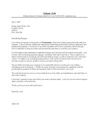 Programmer Cover Letter Samples Under Fontanacountryinn Com