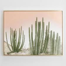 on cactus wall art framed with cactus warm sky gold frame art