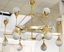 mid century modern murano globe glass and textured brass chandelier for
