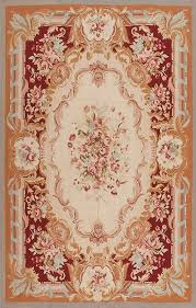 6 x 9 hand woven wool french aubusson weave rug