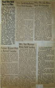 Obituaries From Jack County Texas 1960s-2018