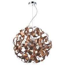 Copper Ribbon Light Rawley 9 Light Ribbon Pendant Ceiling Light In Brushed Copper Raw1364