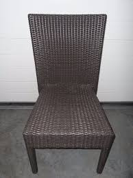 two tone brown plastic rattan chair