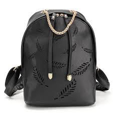 <b>Women</b> PU Leather Traveling <b>Backpack Casual</b> Hollow Leaf <b>School</b> ...