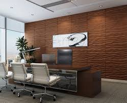 pvc office wall panels with brown color wall panels and glass windows and office chair
