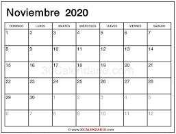 Calendario Noviembre 2020 Para Imprimir Calendario Noviembre 2020 30 Calendario