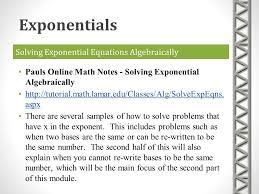 solving exponential equations algebraically