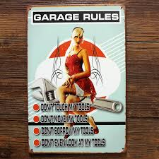 garage signs and decor ua x 0677 free ship garage rules and lady vintage metal tin signs painting home decor