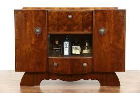 Art Deco English Walnut 1940 Vintage Bar Cabinet Signed Hubbinet