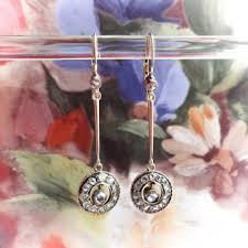 large antique 1900 s 82ct t w rose cut diamond drop wedding chandelier earrings rose gold 14k 10k