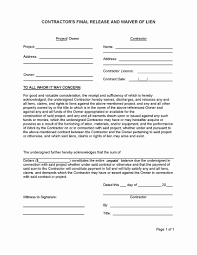 Construction Release Form Oklahoma lien release form waiver unique contractor final of forms 1