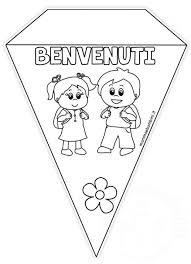 Striscione Scuola Con Bandierine Da Colorare Mamma E Bambini