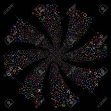 シャープな丸みを帯びた矢印花火は回転を旋回しますベクトル イラストのスタイルは黒の背景に明るい