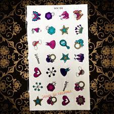 Lovely Cute Neck Finger Tattoo For Girls Diamond Crown Dress Rainbow