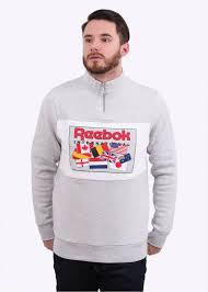 reebok jumper. half zip jumper - grey reebok