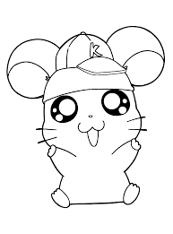 Cute Hamtaro Coloring Pages Coloring Page Hamster In General Style