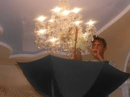 so you hold the umbrella directly under the chandelier and quickly press the pulverizer handle the sharper you press the stronger water jet you get