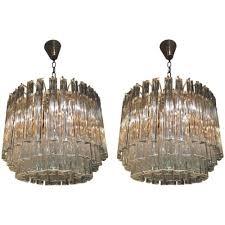pair of venini glass chandeliers